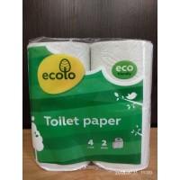 Бумага туалетная высококачественная рециклинг 2-х слойная Эколо